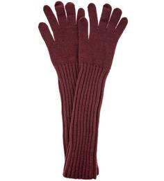 Длинные вязаные перчатки бордового цвета Trussardi Jeans