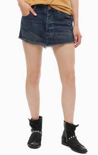 Короткая джинсовая юбка с потертостями One Teaspoon