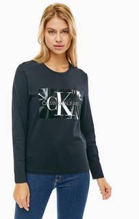 Черная хлопковая футболка с длинными рукавами Calvin Klein