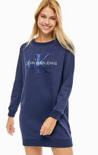 Платье синего цвета с принтом Calvin Klein