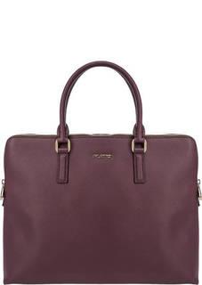Бордовая кожаная сумка с двумя отделами Fiato