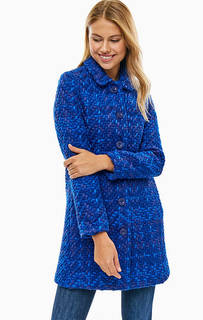 Демисезонное синее пальто на пуговицах Desigual