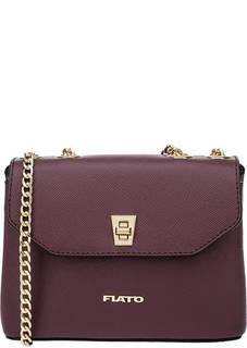 Бордовая кожаная сумка с откидным клапаном Fiato