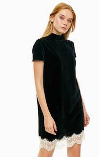 Короткое бархатное платье с кружевной нашивкой по низу Trussardi Jeans