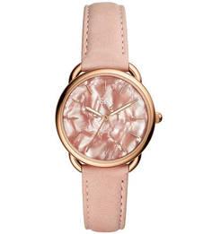 Розовые часы с золотистым корпусом Fossil