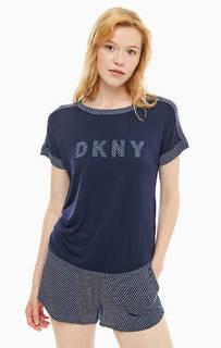 Домашний комплект из футболки и шорт синего цвета Dkny