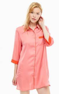 Короткое атласное платье ярко-кораллового цвета на пуговицах Dkny