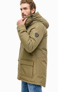 Хлопковый пуховик цвета хаки с карманами EA7