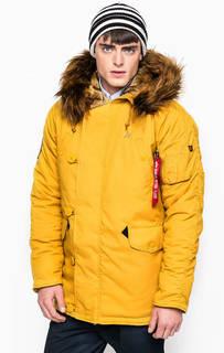 Желтая куртка с меховой отделкой капюшона Alpha Industries