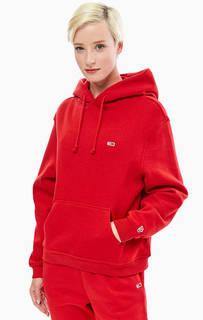 Хлопковая толстовка красного цвета с капюшоном Tommy Jeans