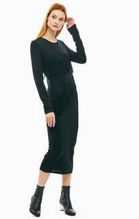 Черное трикотажное платье с бахромой Trussardi Jeans