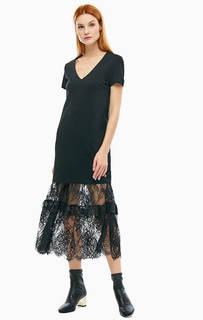 Платье из вискозы с кружевной вставкой Trussardi Jeans