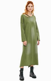 Платье цвета хаки с эффектом состаривания One Teaspoon