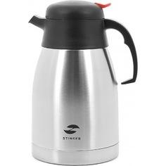 Термо-кофейник stinger 1.5 л, широкий, серебристый, чёрные вставки hy-cp301-1