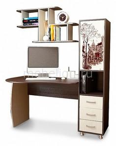 Стол компьютерный Гимназист (М) венге цаво/дуб молочный с рисунком Мебель Трия