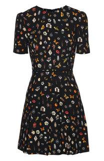 Приталенное мини-платье с ярким принтом Alexander McQueen