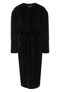 Меховое пальто с поясом из овчины Givenchy