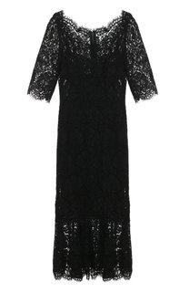 Кружевное платье с юбкой-годе и коротким рукавом Dolce & Gabbana