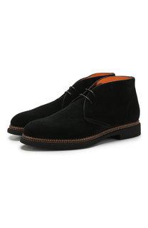 Замшевые ботинки на шнуровке Santoni