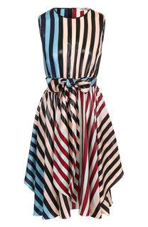 Шелковое платье в полоску с поясом Diane Von Furstenberg