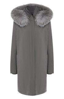 Однотонная куртка с меховой отделкой капюшона Loro Piana