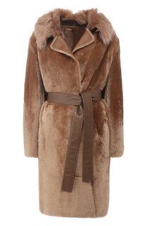 Пальто с поясом из овчины BOSS