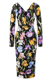 Шелковое платье с V-образным вырезом и принтом Dolce & Gabbana