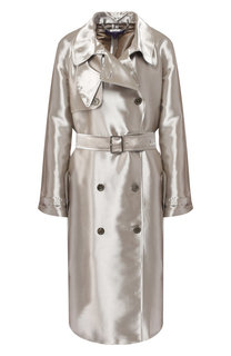 Двубортное пальто из смеси вискозы и шелка с поясом Ralph Lauren