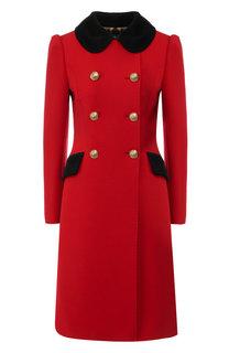 Двубортное пальто из смеси шерсти и хлопка Dolce & Gabbana