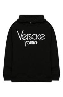 Хлопковое худи с логотипом бренда Young Versace