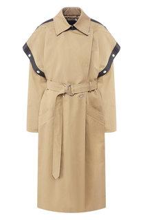 Пальто из смеси хлопка и льна с кожаной отделкой Givenchy