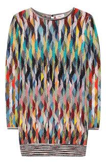 Шерстяное платье прямого кроя фактурной вязки Missoni