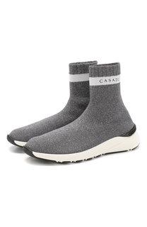 Текстильные кроссовки без шнуровки Casadei