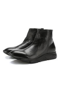 Высокие кожаные кроссовки на молнии с внутренней меховой отделкой Raparo