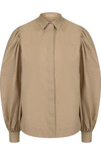 Однотонная хлопковая блуза с объемными рукавами Alaia