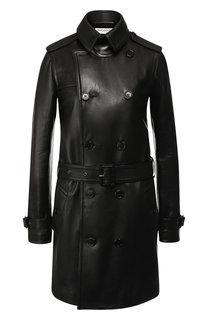 Двубортное кожаное пальто с поясом Saint Laurent