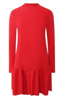Однотонное мини-платье с оборкой и воротником-стойкой Valentino
