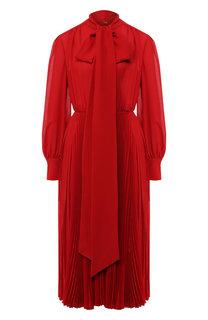 Шелковое платье-миди с воротником аскот Valentino