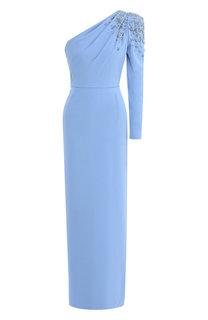 Платье-макси с декоративной отделкой и высоким разрезом Escada