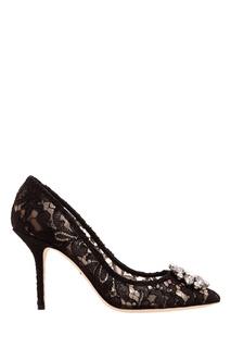 Черные туфли с кружевной отделкой Dolce & Gabbana