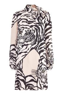 Шелковое платье с принтом Valentino