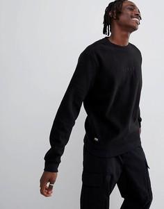 Черный флисовый свитшот с вышивкой на груди Globe - Черный