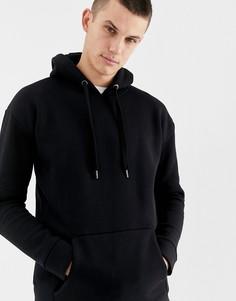 Трикотажный худи с флисовой изнанкой и заниженной линией плеч Selected Homme - Черный