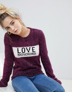 Кашемировый джемпер с логотипом и блестками Love Moschino - Розовый