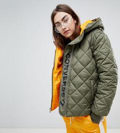 Стеганая дутая куртка цвета хаки Converse - Зеленый
