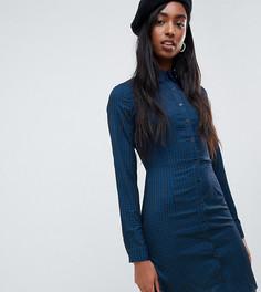 Платье-рубашка в ломаную клетку Glamorous Tall - Темно-синий