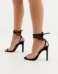 Черные босоножки на каблуке с прозрачным ремешком и петлей для большого пальца Simmi London Vanessa - Черный