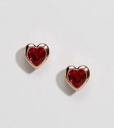 Серьги-гвоздики цвета розового золота с красными кристаллами Ted Baker - Золотой