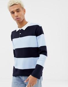 Рубашка регби в синюю полоску Pull&Bear - Синий Pull&;Bear