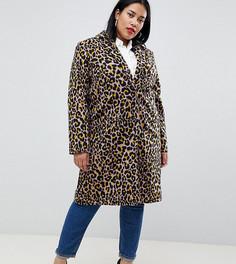 Пальто с леопардовым принтом ASOS DESIGN Curve - Мульти